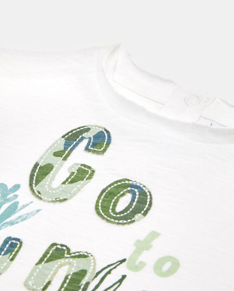 T-shirt in puro cotone con lettering neonato single tile 1
