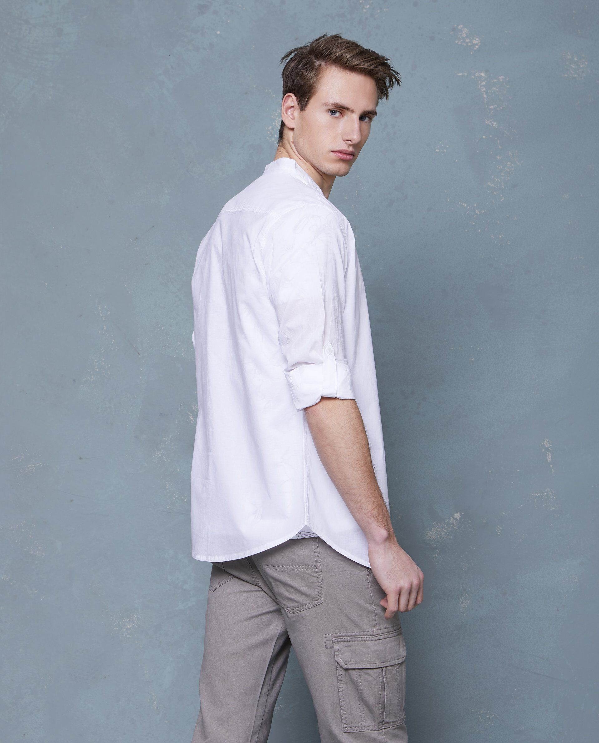 Camicia in puro cotone a maniche lunghe bianca