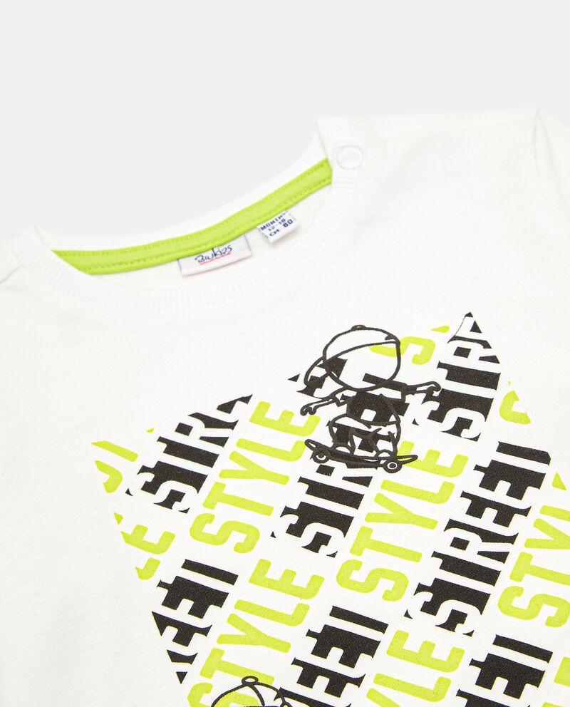 T-shirt con stampa in rilievo di cotone neonato single tile 1