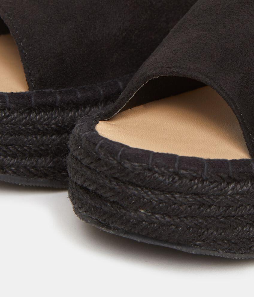 Sandali platform in tessuto donna