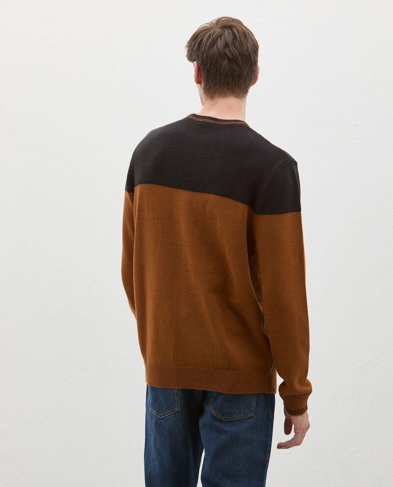 Maglione girocollo bicolor in puro cotone uomo single tile 1