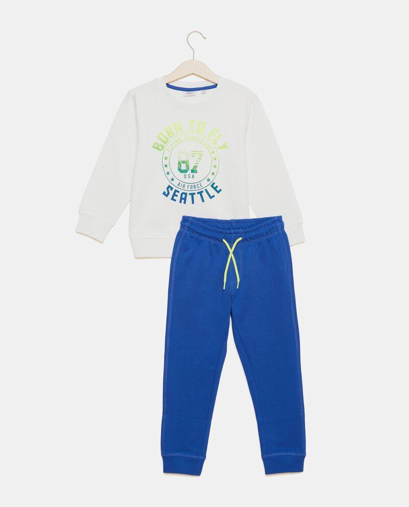 Set con felpa e pantaloni in puro cotone bambino