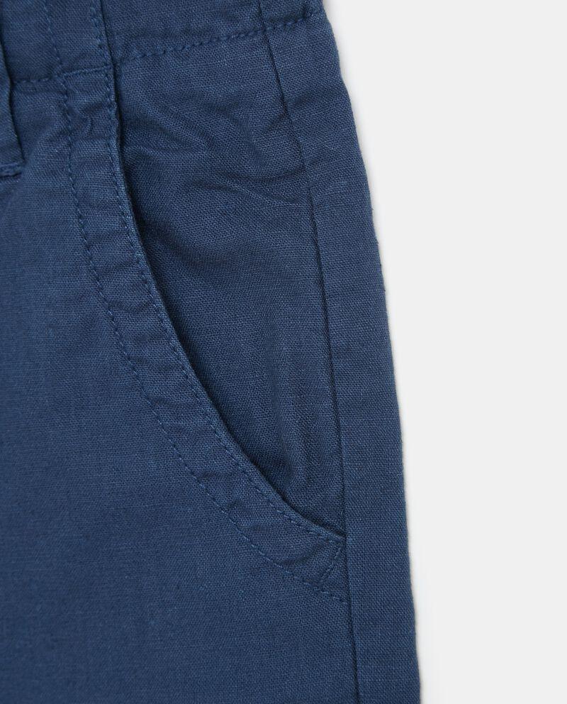 Shorts tinta unita in cotone misto lino ragazzo