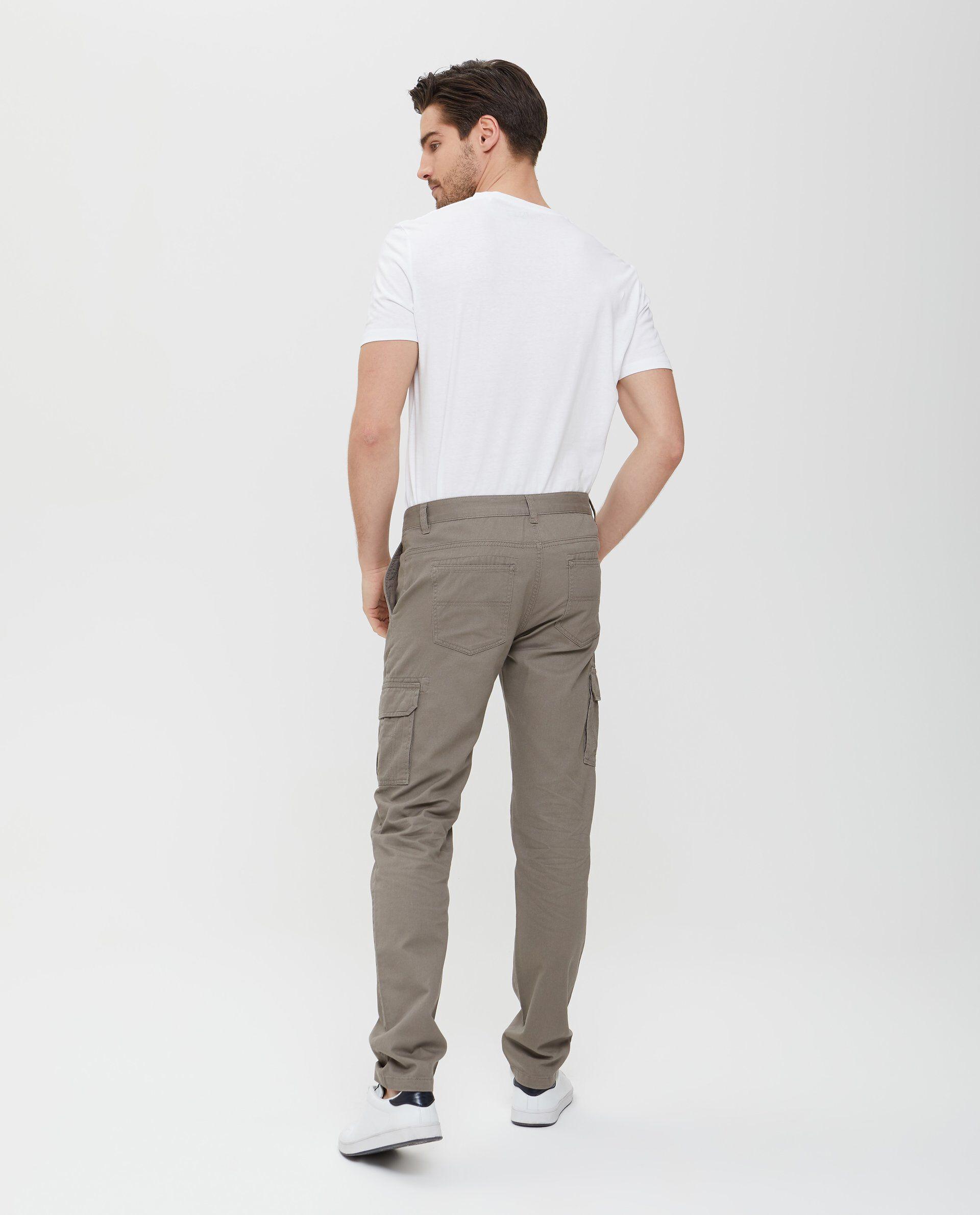 Pantaloni in puro cotone marroni cargo uomo