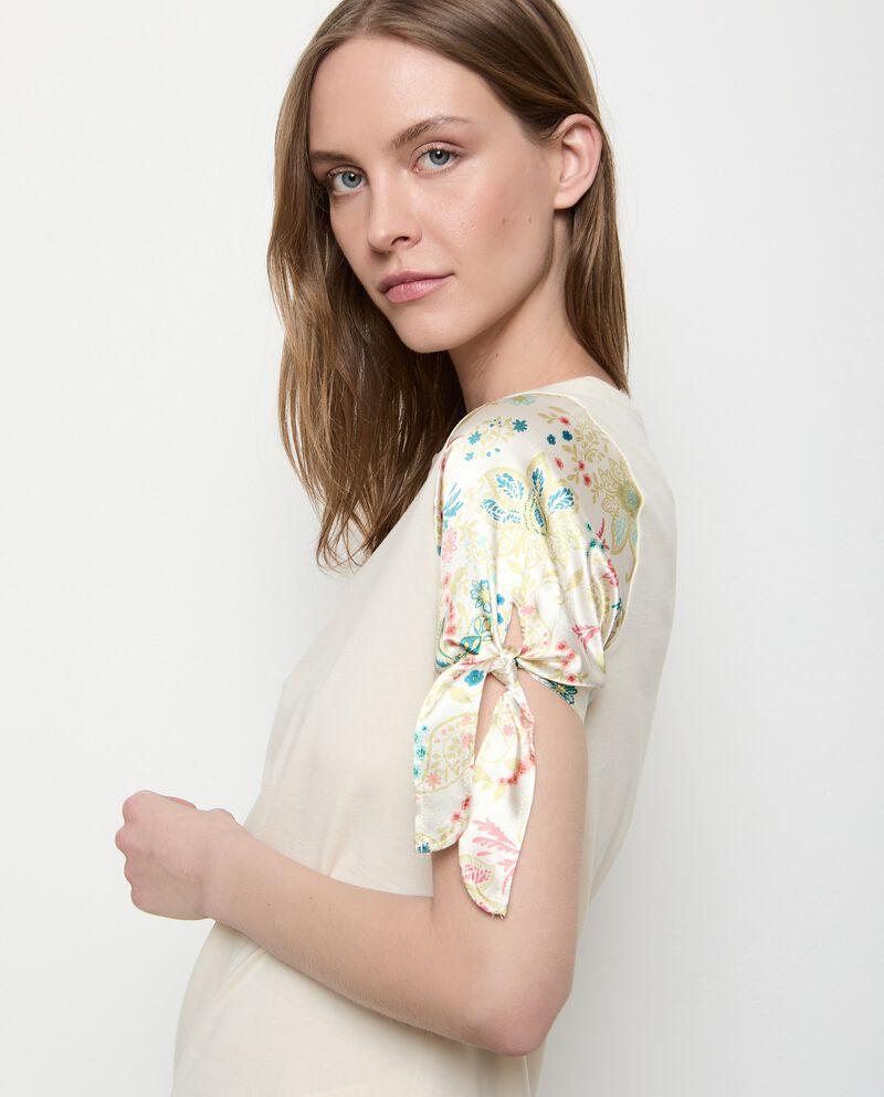 T-shirt in cotone stretch con maniche stampate donna single tile 2