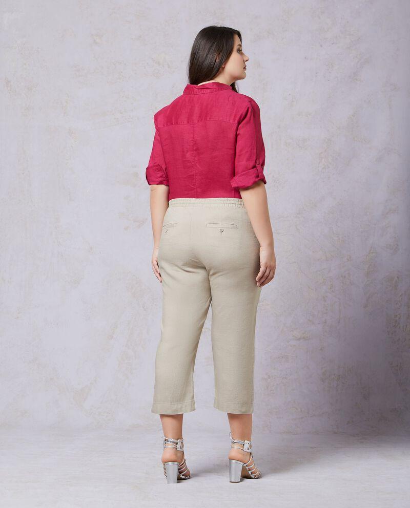 Pantaloni crop in puro lino Curvy donna