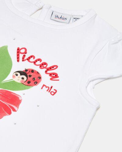 T-shirt in cotone organico jersey con strass neonata