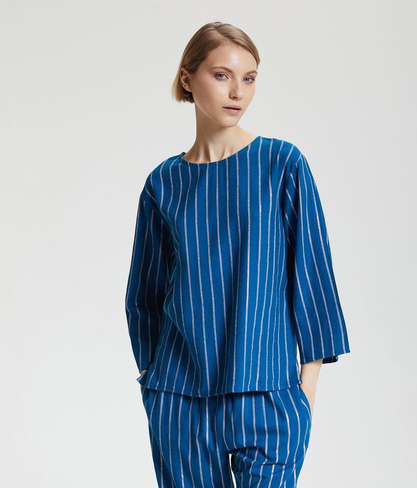 Maglia del pigiama con motivo a righe e filo lurex donna