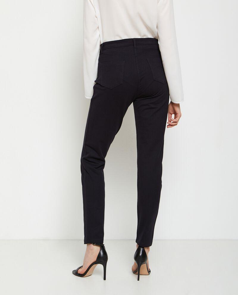 Pantaloni in cotone stretch vita alta donna