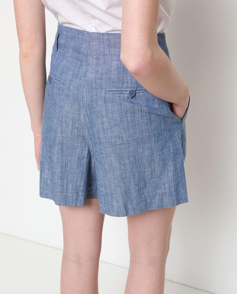 Shorts denim in cotone misto lino donna