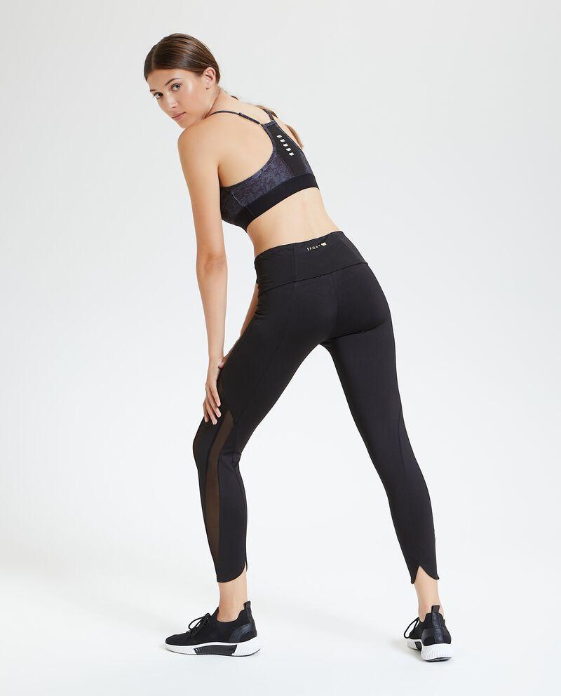 Leggings fitness con inserti semitrasparenti