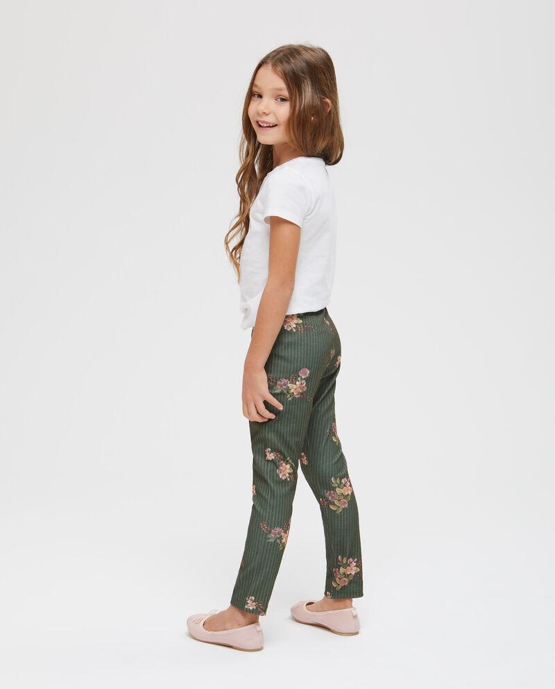Pantaloni con piega fantasia spigata