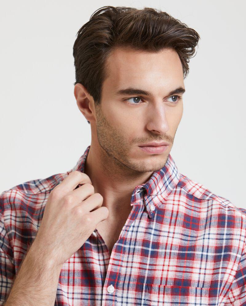 Camicia in cotone misto lino a maniche corte uomo