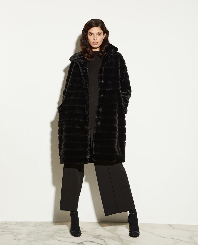 Eco pelliccia lunga in tinta unita donna