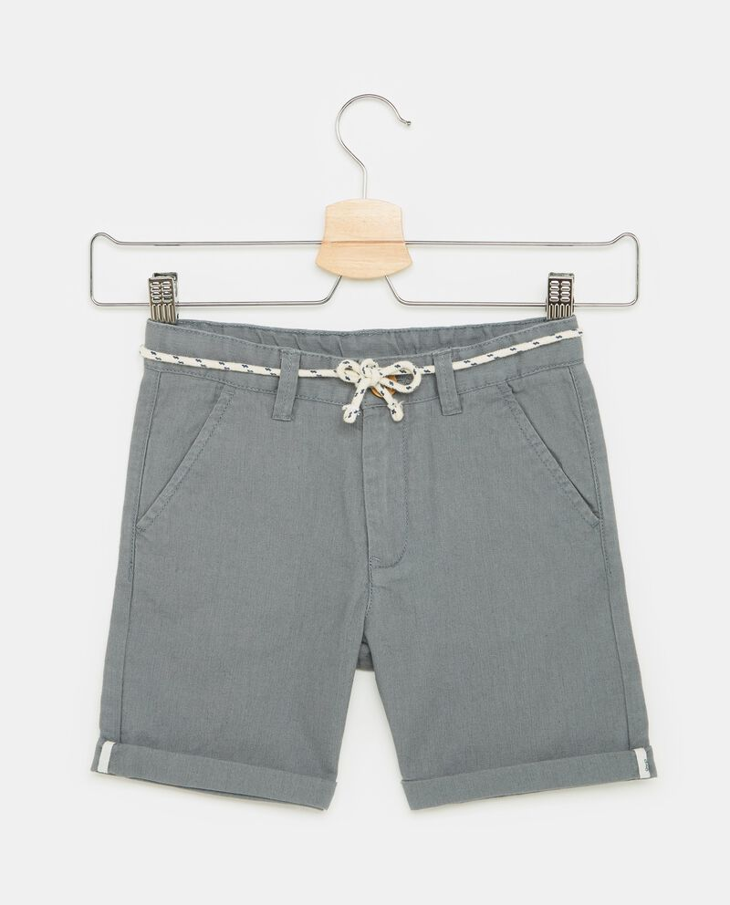 Shorts in cotone misto lino tinta unita bambino