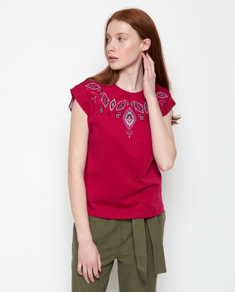 T-shirt con ricami di puro cotone donna cover