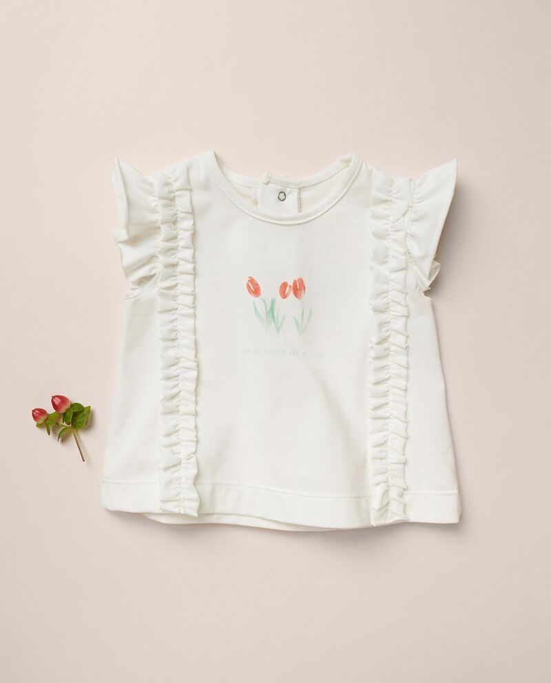 T-shirt di cotone stretch con ruches MADE IN ITALY