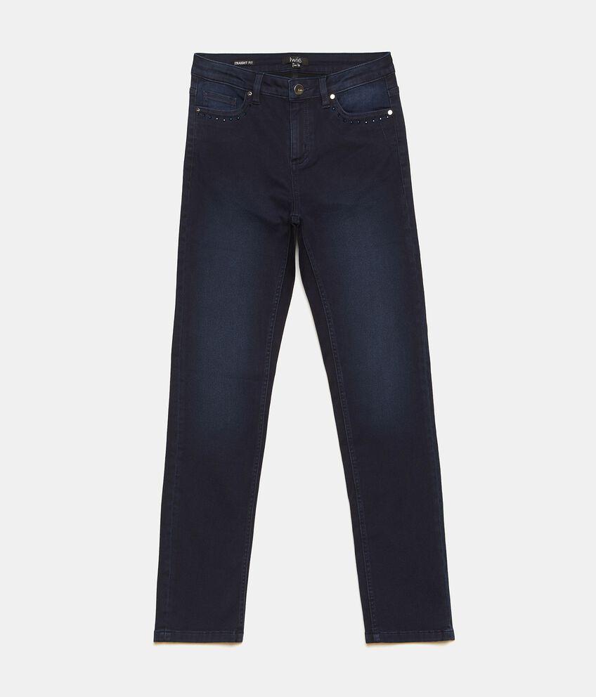 Jeans cinque tasche con strass donna