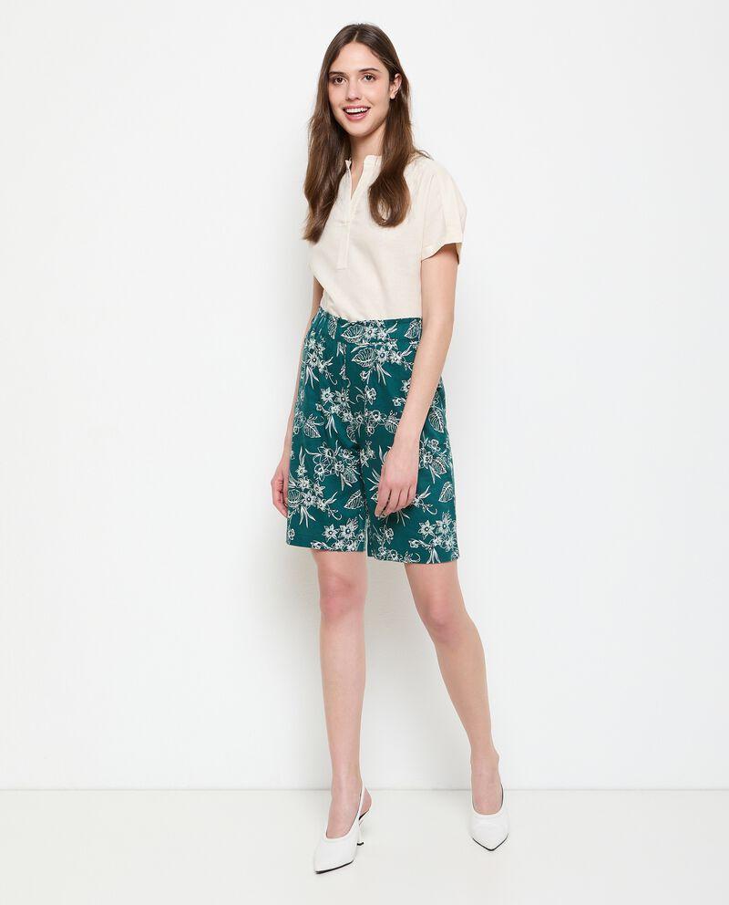Bermuda in misto lino stampati donna cover