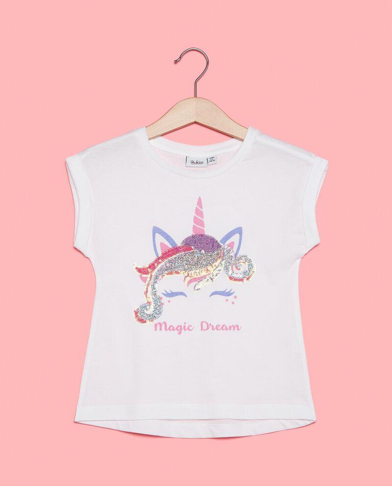 T-shirt cotone biologico jersey con paillettes olografiche bambina