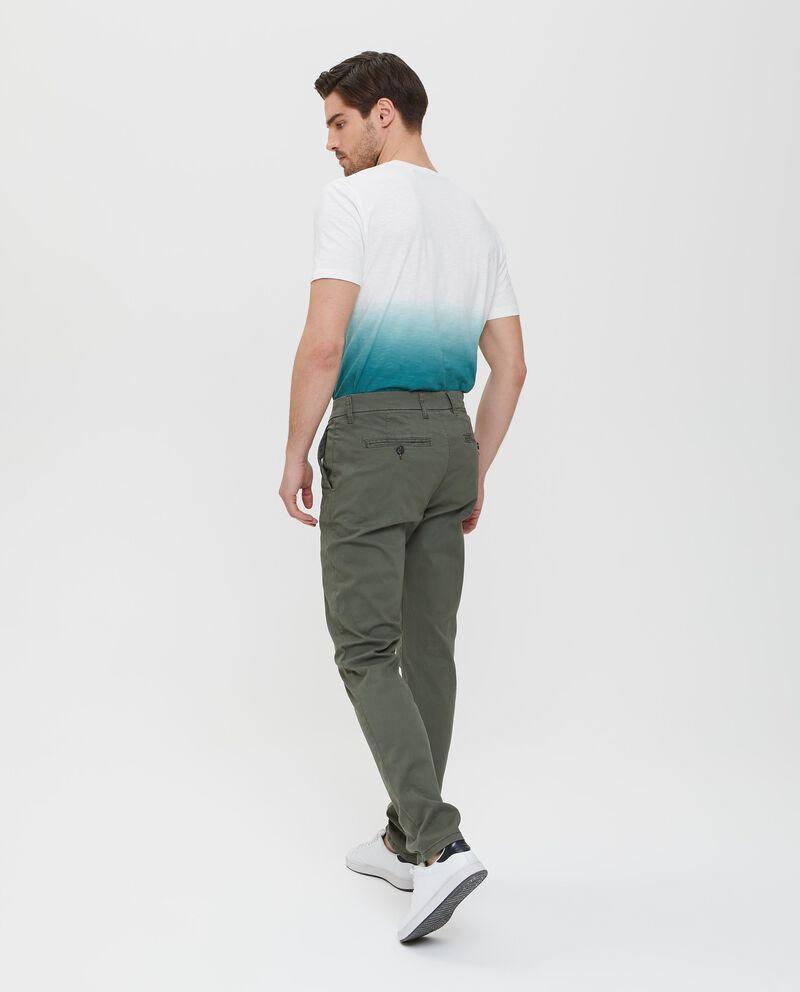 Pantaloni verdi in cotone tinta unita uomo