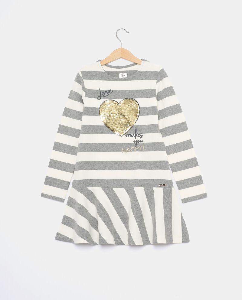Vestito in felpina a righe in tinto filo bambina cover