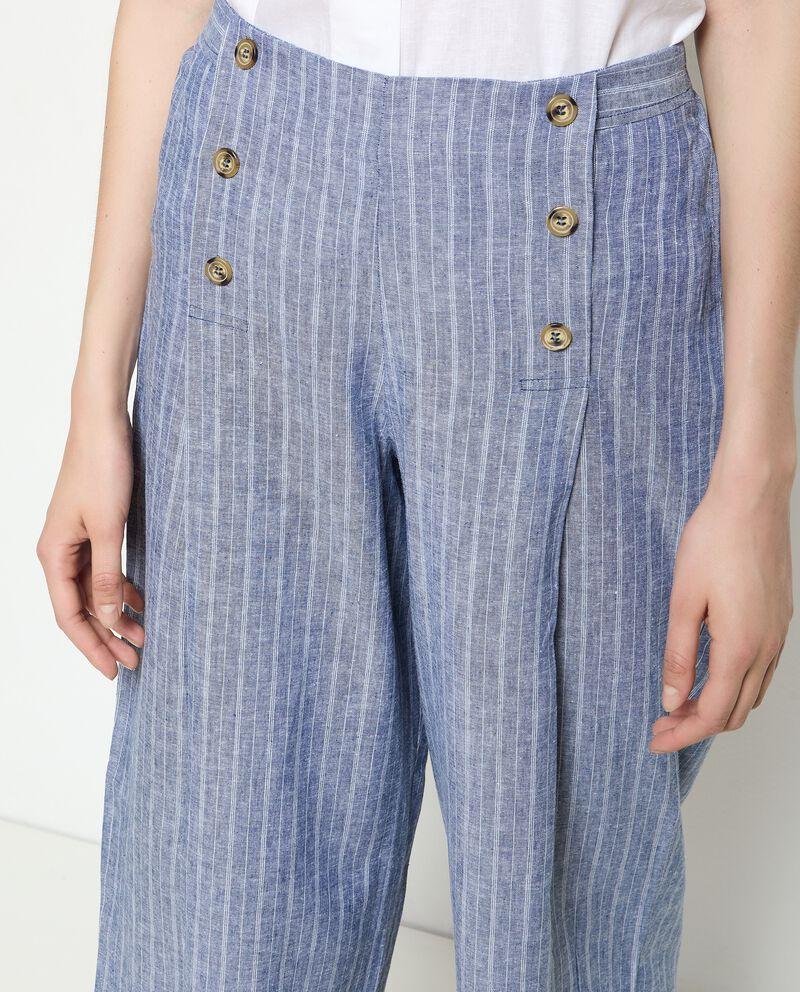 Pantaloni culotte rigati in misto lino donna