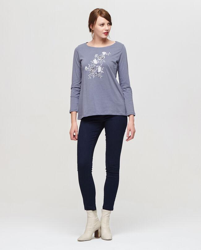T-shirt puro cotone con ricami floreale