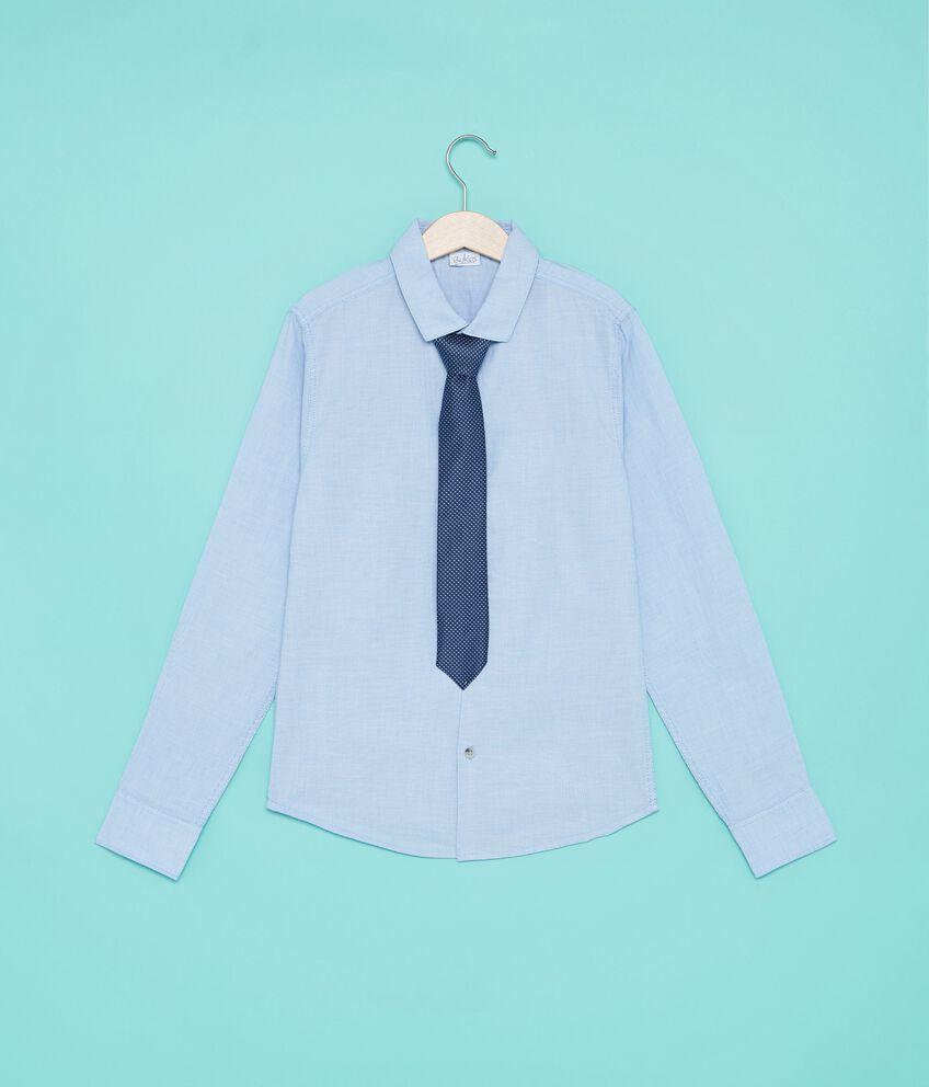 Camicia in puro cotone con cravatta ragazzo