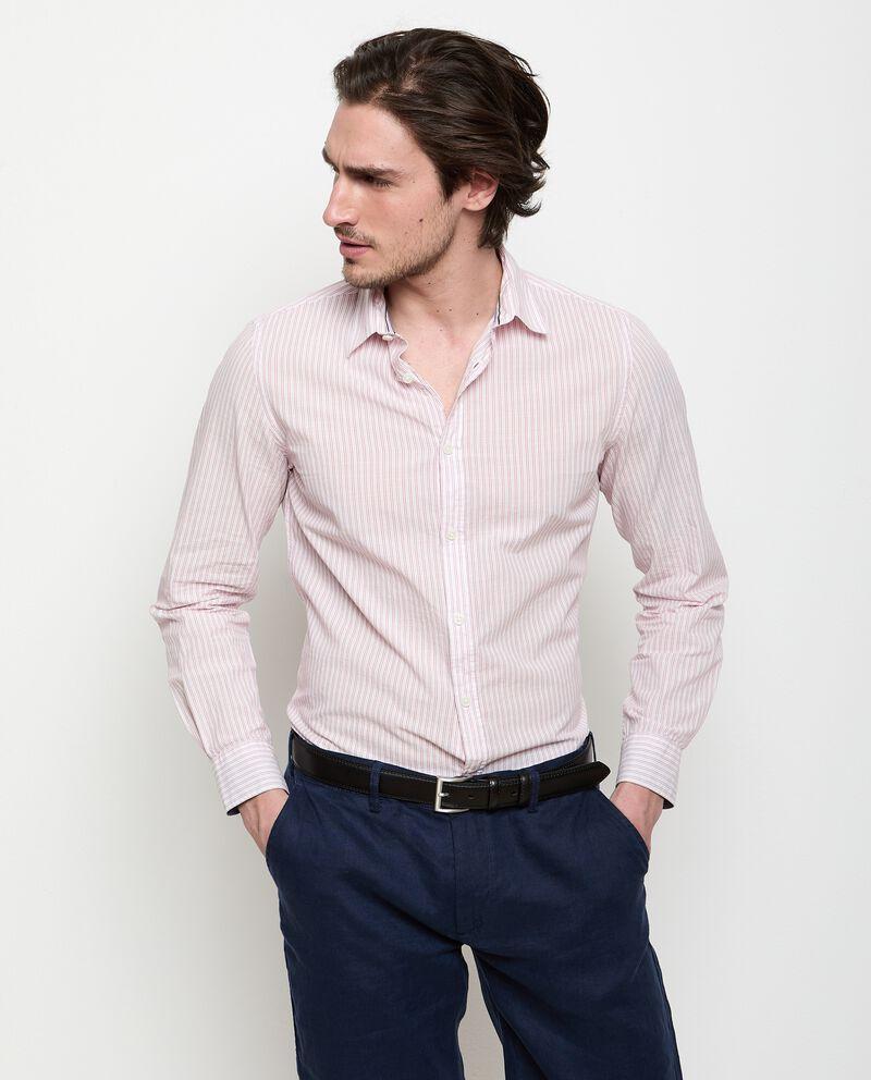 Camicia a righe in puro cotone uomo