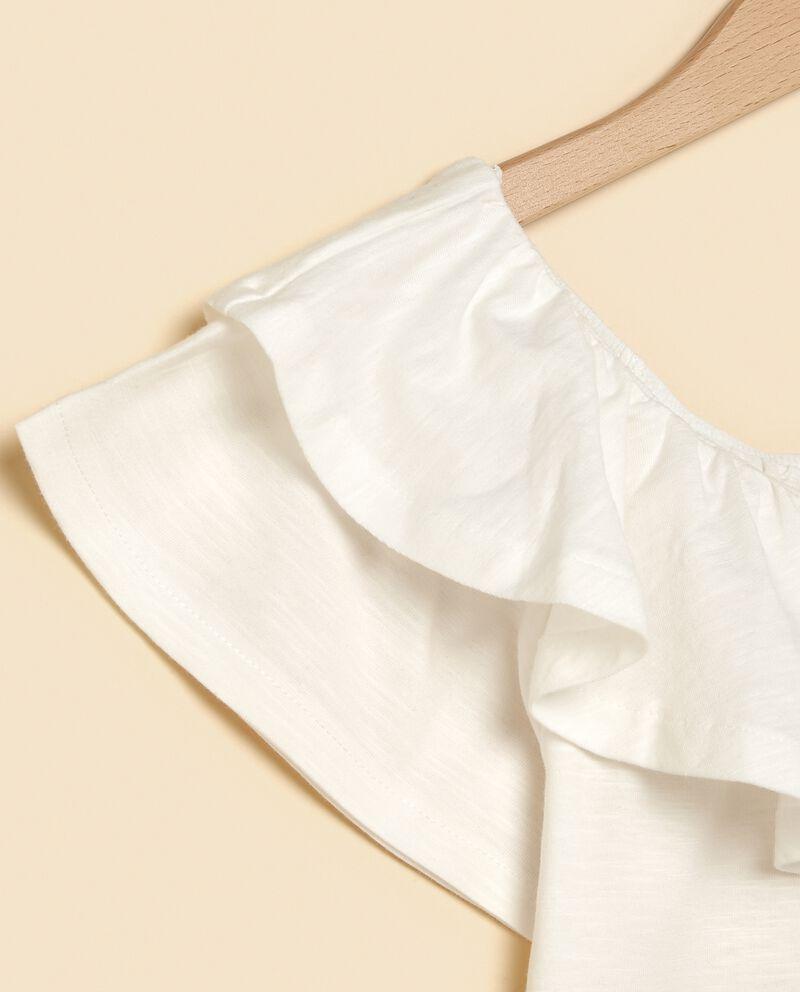 T-shirt con balze e volant in puro cotone ragazza
