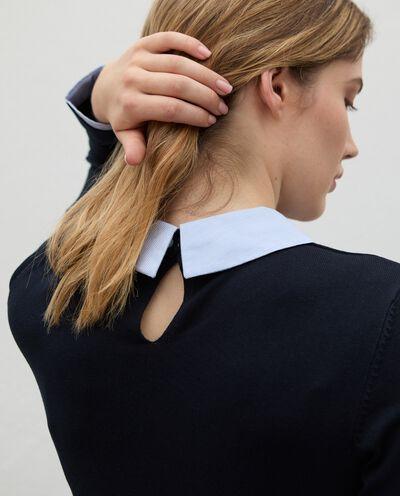 Maglia con inserto camicia in viscosa donna detail 2