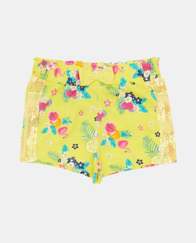 Shorts con bande laterali in paillettes
