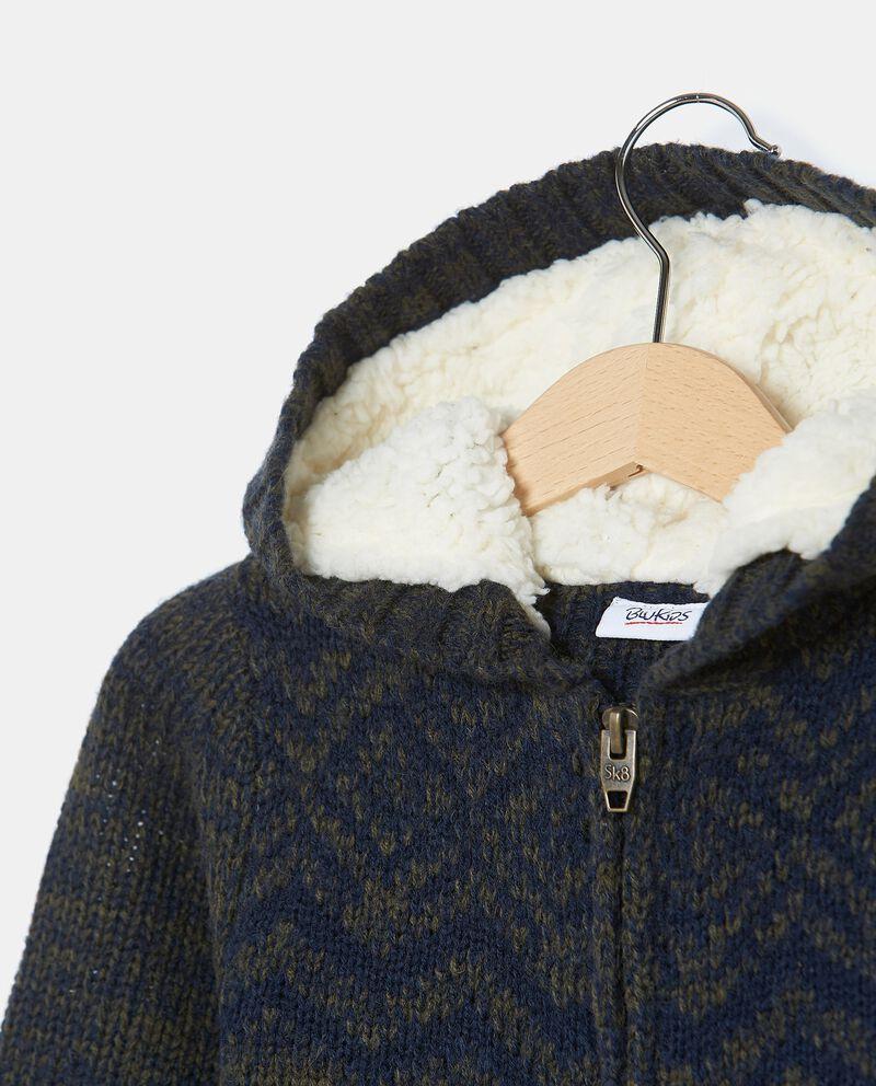 Giubbino tricot con zip e cappuccio bambino