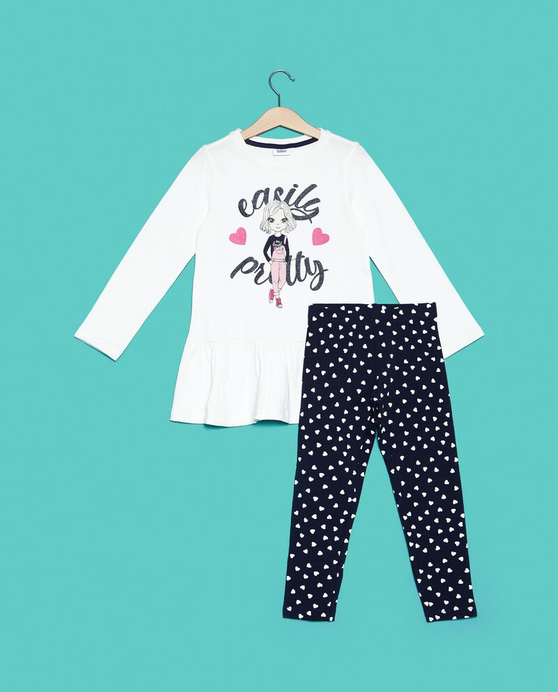 Set jogging t-shirt e leggings cuori bambina