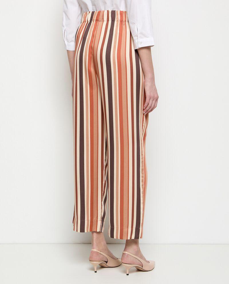 Pantaloni a righe palazzo in pura viscosa donna single tile 1