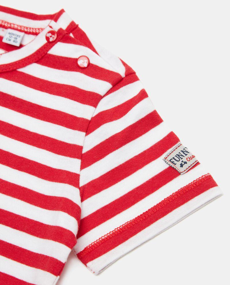 T-shirt rigata in cotone organico neonato single tile 1