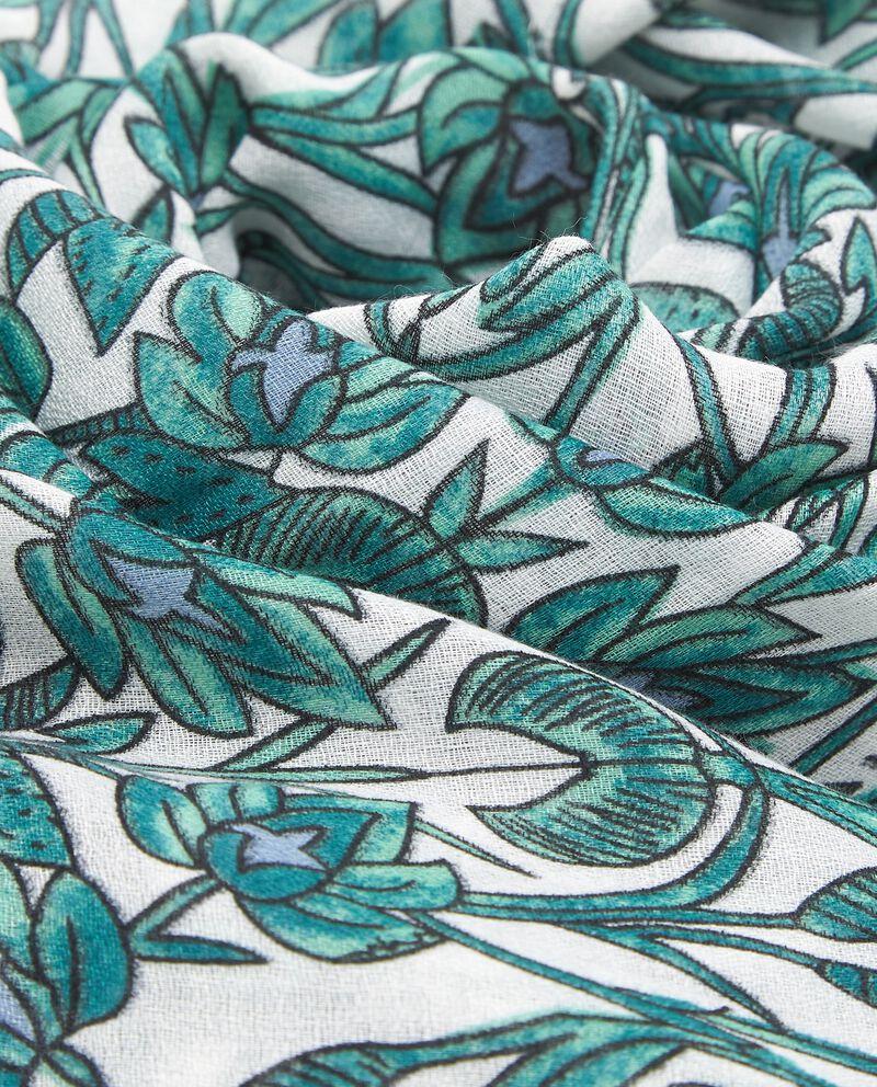 Sciarpa verde con fantasia floreale donna