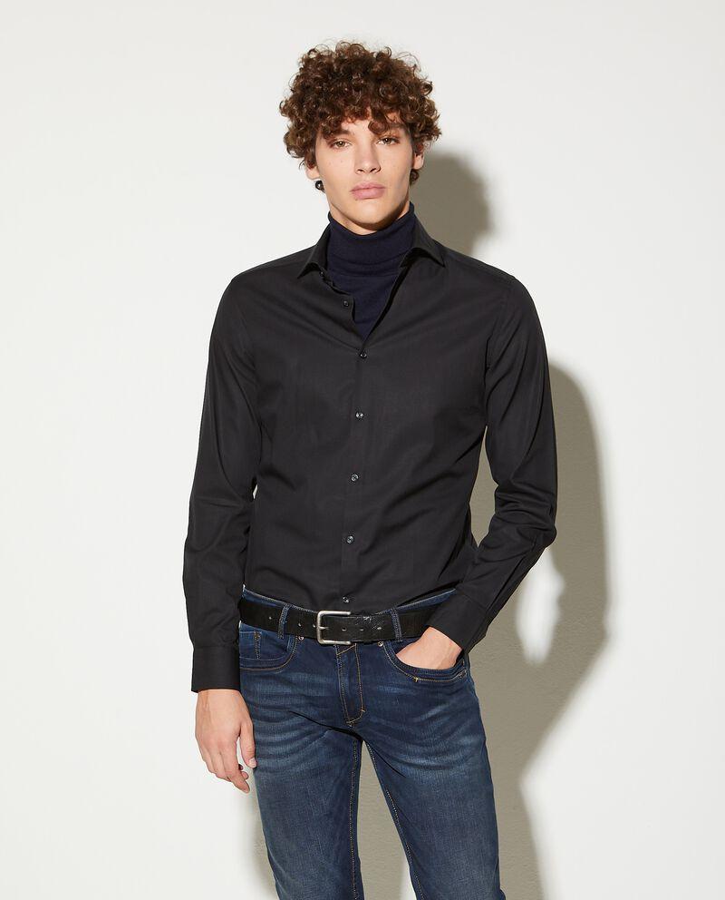 Camicia in puro cotone tinta unita slim fit uomodouble bordered 0