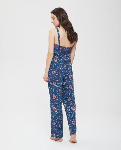Pantaloni pigiama in pura viscosa fantasia floreale donna