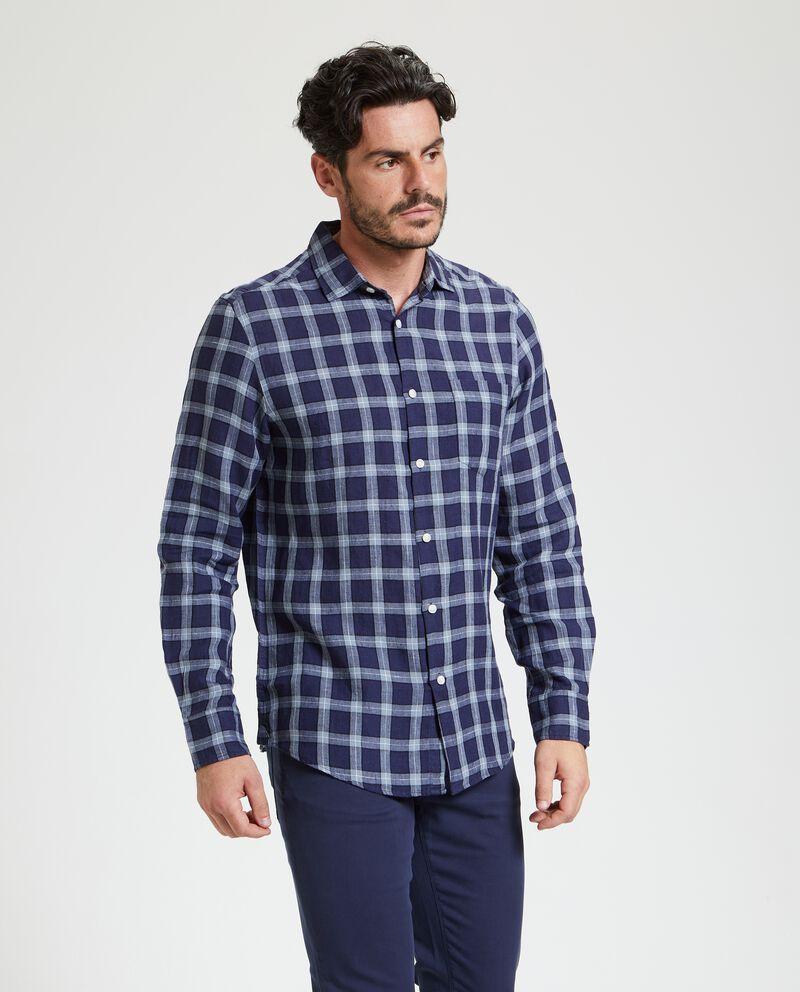 Camicia in puro lino a quadri uomo