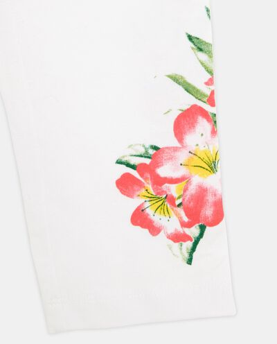 Leggings tinta unita con fantasia floreale bambina