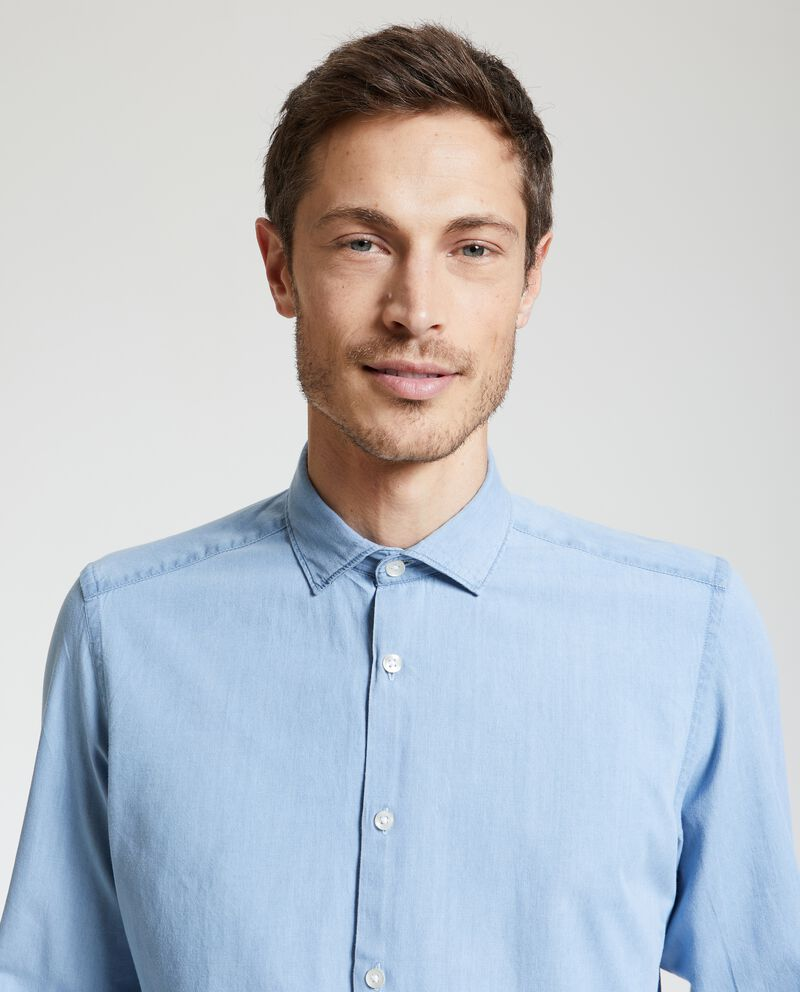 Camicia in denim delavato puro cotone uomo