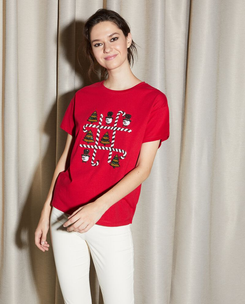 T-shirt in puro cotone con stampa natalizia in paillettes donna