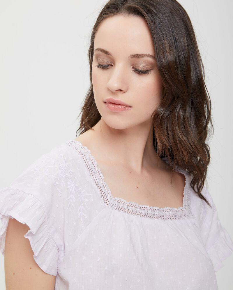 Top pigiama in puro cotone viola con ricamo donna