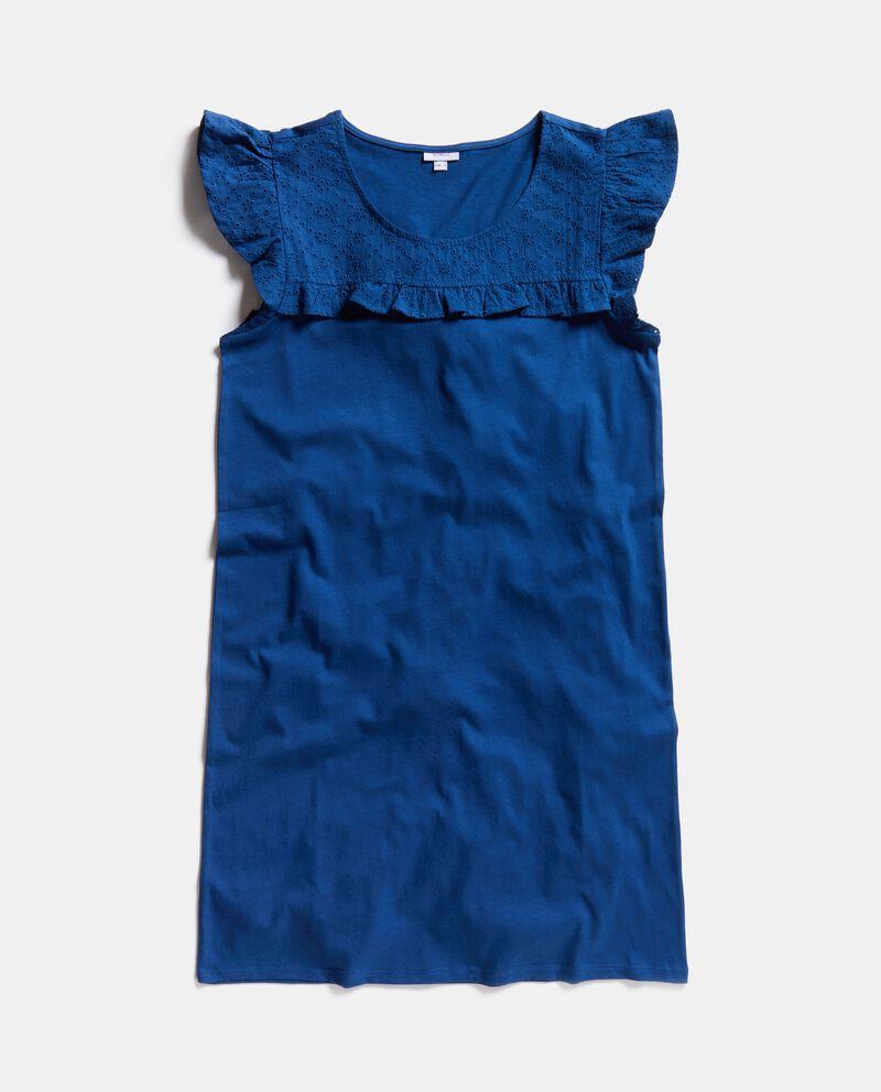 Camicia da notte in puro cotone con inserto traforato donna