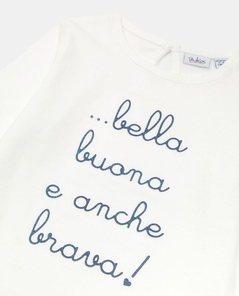 T-shirt in cotone con stampa neonata single tile 1