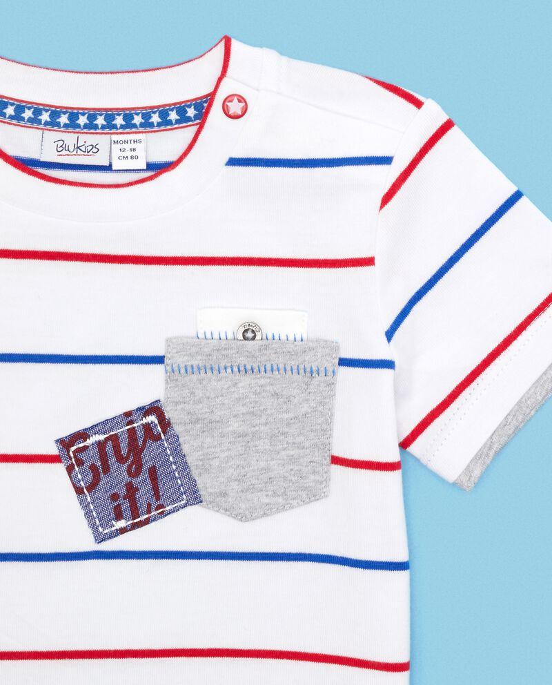 T-shirt in puro cotone con motivo a righe neonato