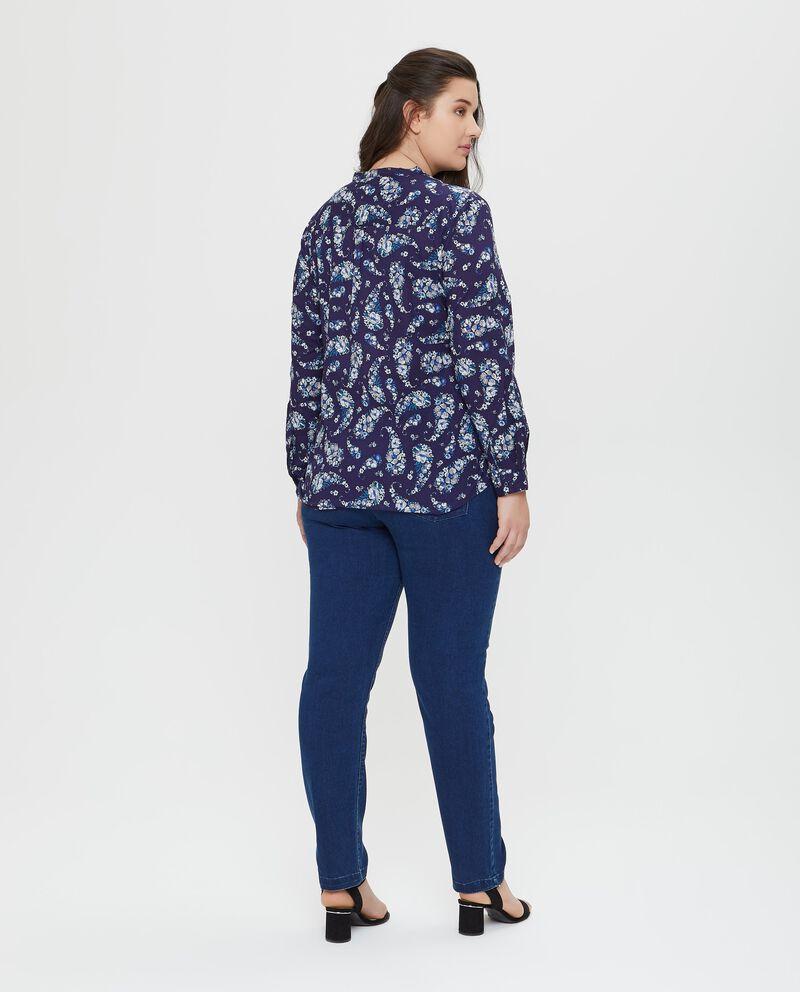 Camicia in puro cotone floreale blu Curvy