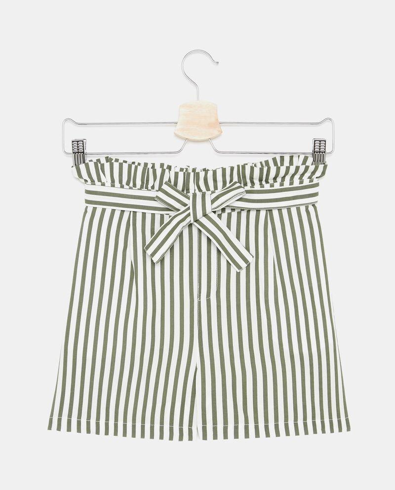 Shorts in pura viscosa con motivo a righe ragazza